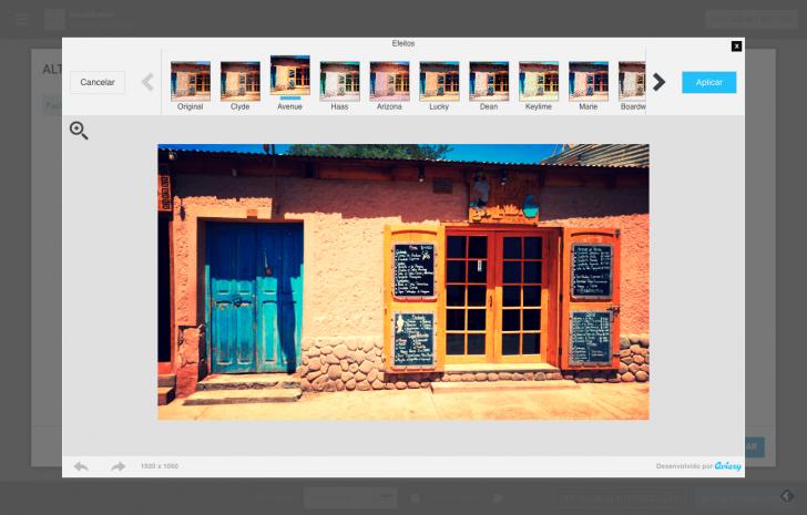 Aplicando filtro no editor de imagens