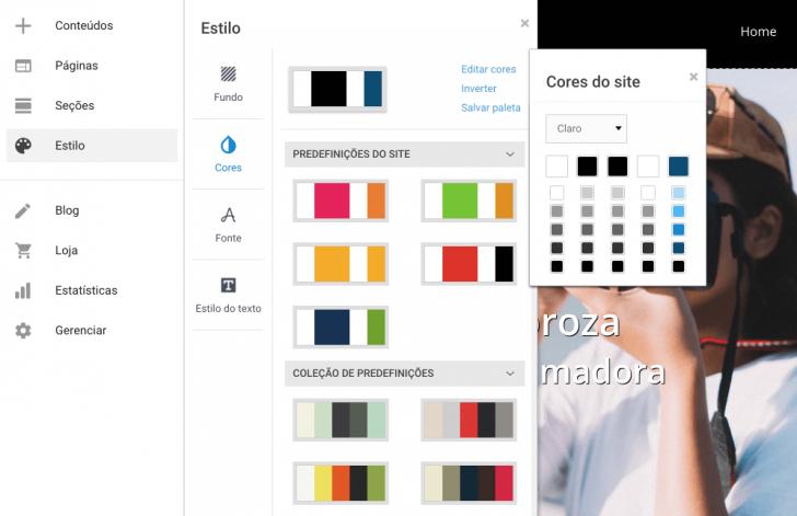 Opções de paletas de cores para usar no tema