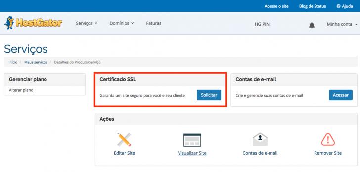 O SSL gratuito precisa ser solicitado pelo painel do cliente