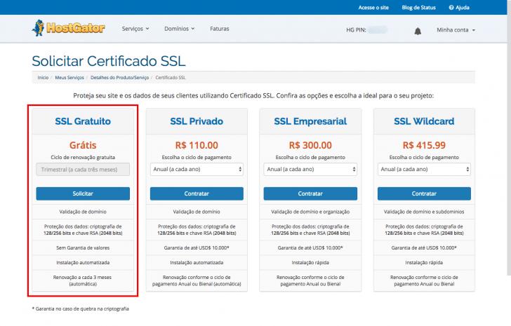 Opções de SSL oferecidas pela HostGator
