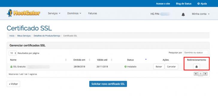 Após instalar o SSL, habilite o redirecionamento das URLs pelo painel