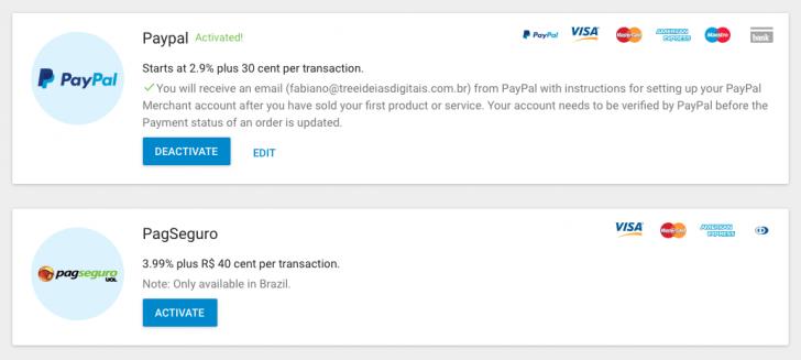Opções de pagamento da loja virtual