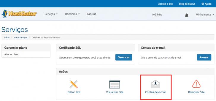 Painel de cliente onde é possível criar as contas de e-mail
