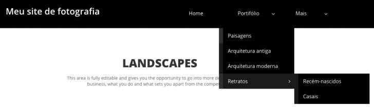 Criador de sites da HostGator permite inserir dois níveis de submenu