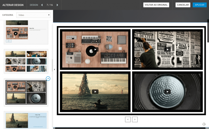 Designs para páginas de vídeos