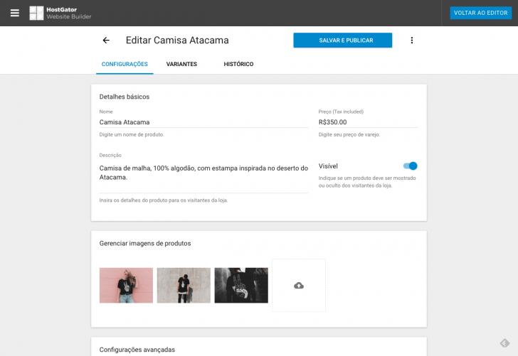 Editando um produto cadastrado na loja online
