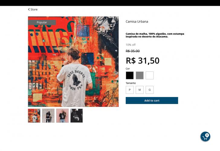 Exemplo de página de produto da loja virtual
