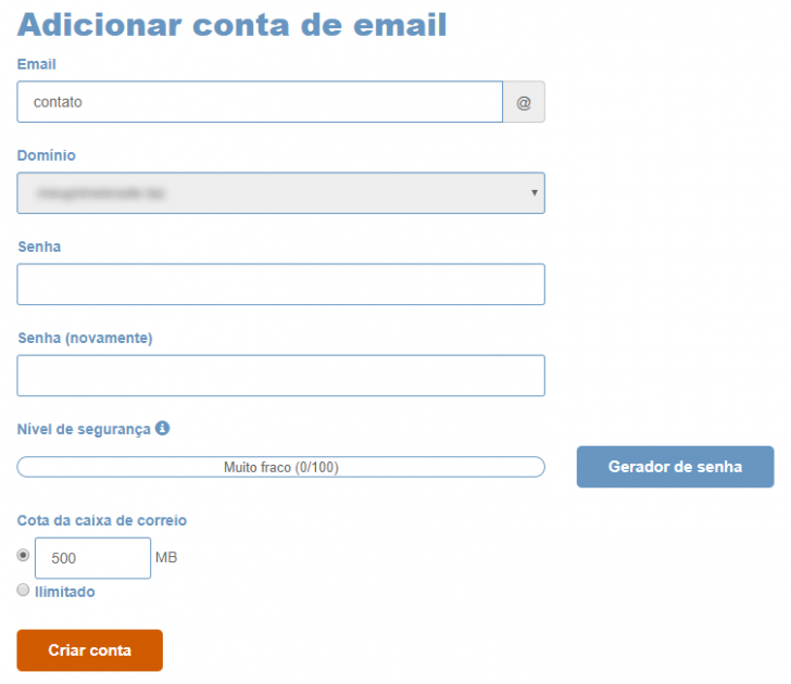 criação de conta de e-mail - cpanel