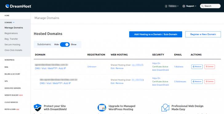 Tela de administração de domínios na DreamHost