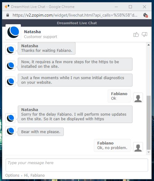Captura de tela do atendimento por chat