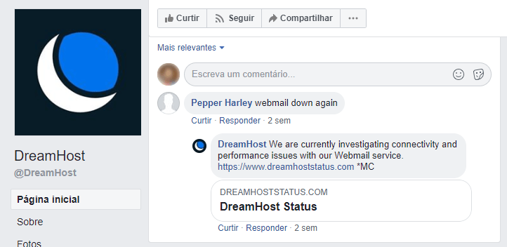 Exemplo de atendimento nas redes sociais pela equipe da DreamHost