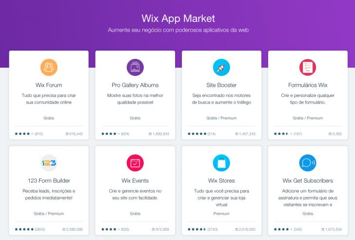 Mais de 300 aplicativos fazem parte do Wix App Market