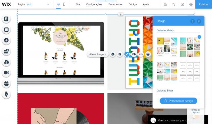 Alterando o design da galeria de imagens no Editor Wix