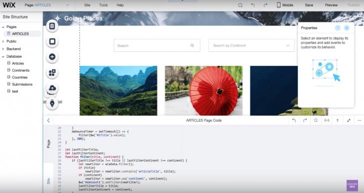 Exemplo de edição de código no Wix Code