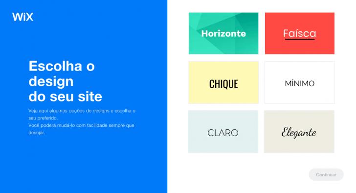 Seleção do design do site no ADI Wix