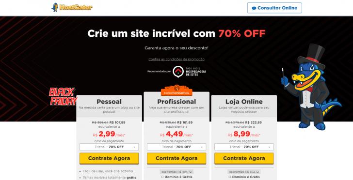 Criador de Sites HostGator na Black Friday com 70% de desconto