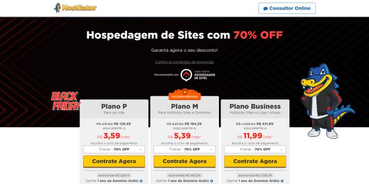 Hospedagem de sites Hostgator - 70% de desconto na Black Friday
