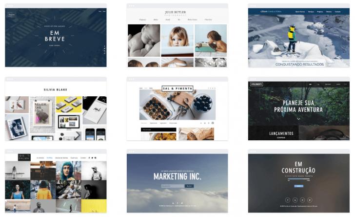 Exemplos de temas disponíveis pelo Editor Wix