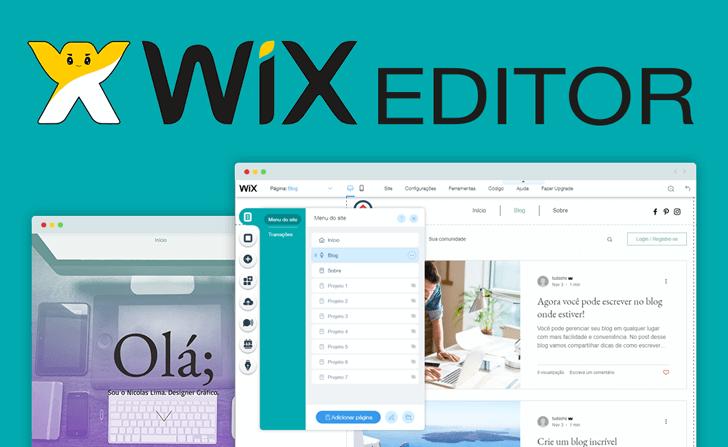 Montagem da tela de edição do Wix Editor