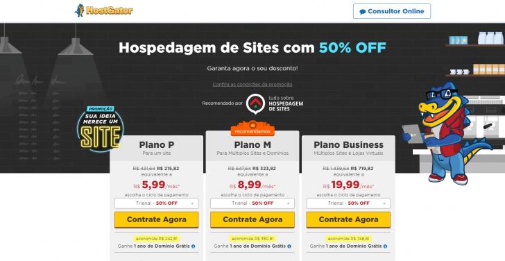 Página da promoção HostGator