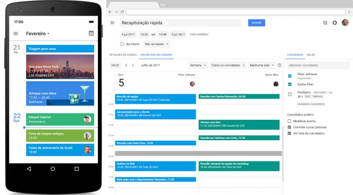 Agenda do Google Workspace em um dispositivo móvel e em um computador