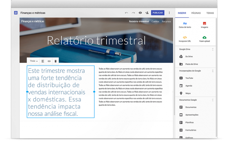 Tela do Criador de Sites do G Suite