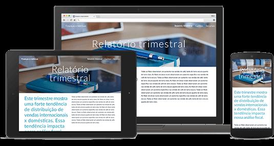 Site criado com o G Suite exibido em diferentes dispositivos