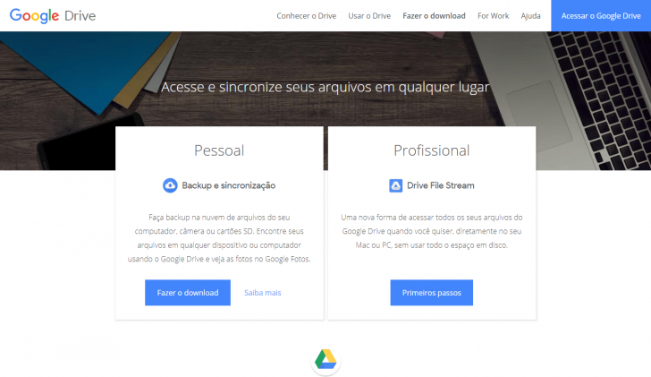 Página de download do Drive File Stream e do Backup and Sync