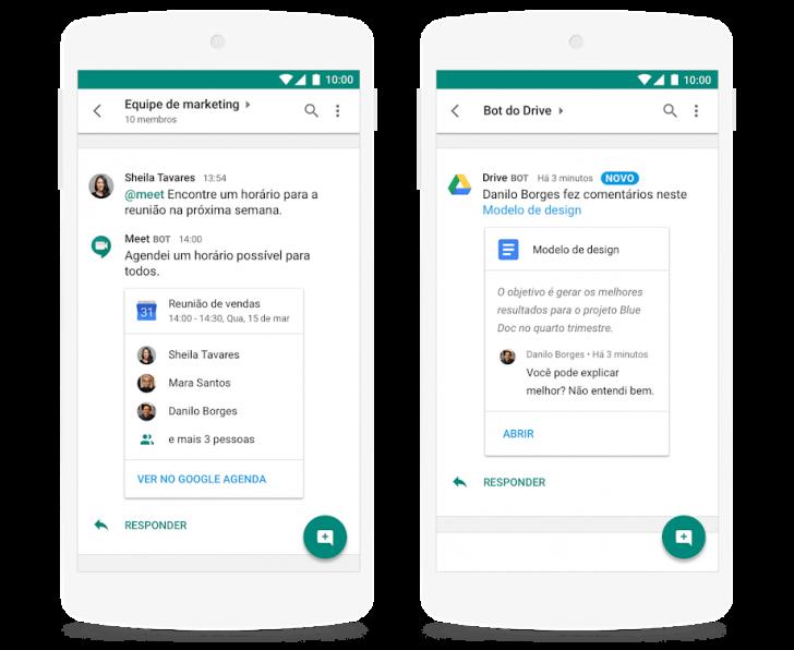 Hangouts Chat em um dispositivo móvel