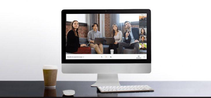 Tela do Hangouts Meet em um computador