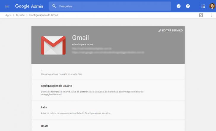 Tela de configuração global do Gmail