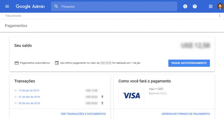 Na área de pagamentos é possível alterar o método de pagamento e fazer download de faturas anteriores