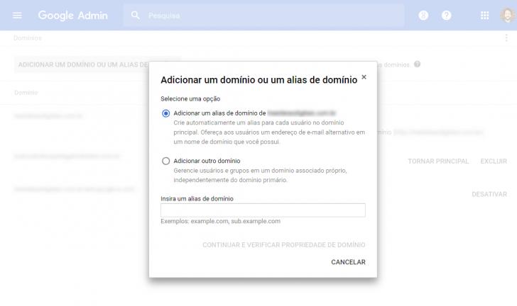 Adicionar um domínio ou alias de domínio