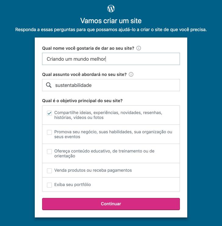 Formulário para inserir informações do blog que você está criando.
