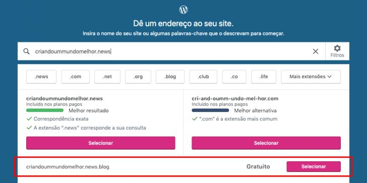 Sugestões de domínio são apresentadas na tela, baseadas no nome que você informou no formulário.