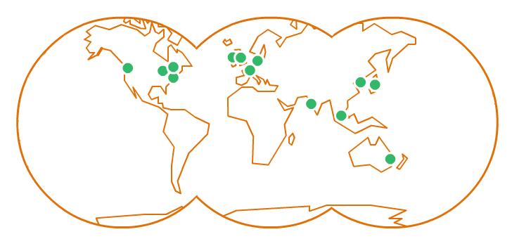 Mapa com as 13 regiões onde o Amazon Lightsail está disponível