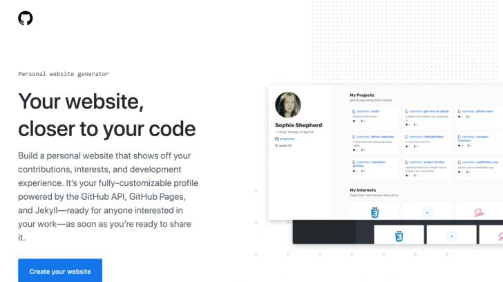 Gerador pessoal de websites do GitHub fica em um domínio .dev