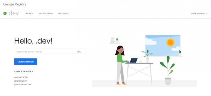 Hotsite da extensão .dev, criado pela Google Registry