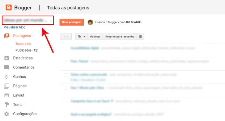 Painel do Blogger com a caixa de seleção de blogs em destaque