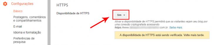 Menu para ativar a disponibilidade de HTTPS no painel do Blogger