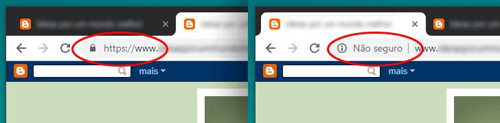 Navegador exibindo as versões HTTPS e HTTP do mesmo site.
