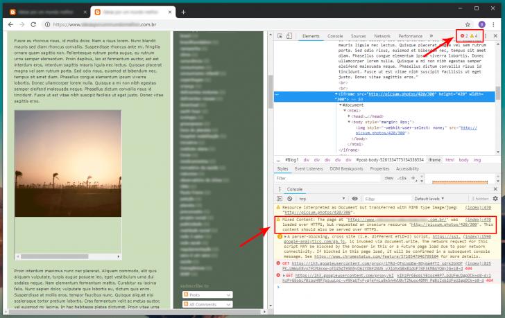 """Console do navegador Chrome com erros do tipo """"Mixed Content"""""""