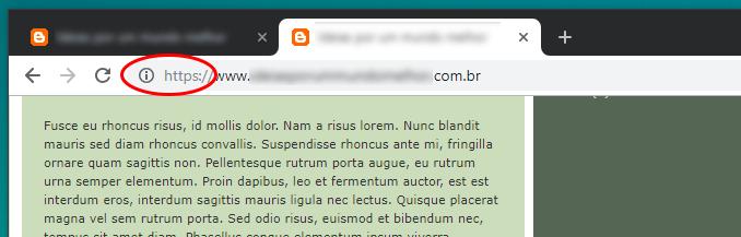 """O ícone """"i"""" é exibido ao lado do endereço da página"""