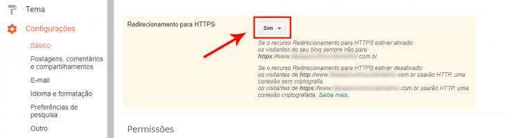 Tela para ativação do redirecionamento para HTTPS, no painel do Blogger