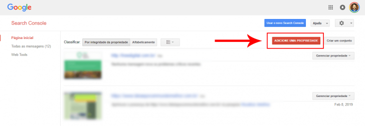 Tela para adicionar um novo site no Google Search Console