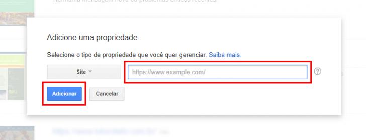 Campo para informar o site no Google Search Console