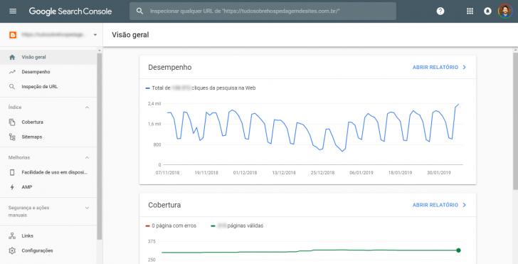 Painel de um site no novo Google Search Console