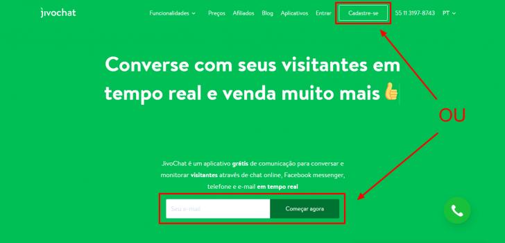 Página inicial do site do JivoChat