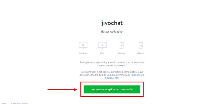 Tela para instalação dos aplicativos (opcionais) do JivoChat
