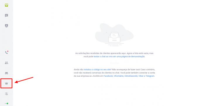 Página inicial do painel do JivoChat - vazia enquanto não houver conversas acontecendo